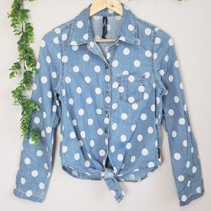 Seven7 Polka Dot Chambray Tie-Up Button-Up